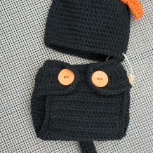 Black cat hat and diaper cover front side