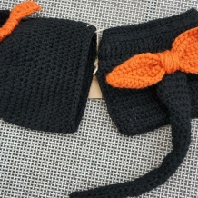 Black cat hat and diaper cover back side