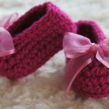 Magenta ribbon booties SOLD