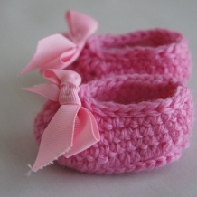 Pink ribbon booties SOLD